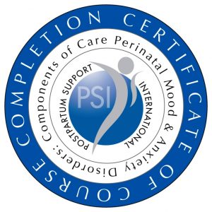 Badge for Postpartum Support International, completion certificate of Components of Care course